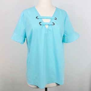 MICHAEL KORS Turquoise V-Neck Shirt in Large